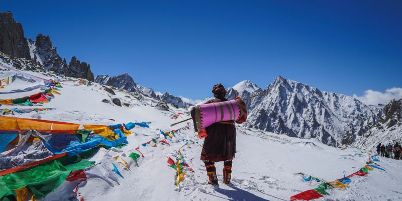 Local pilgrims reaching Dolma la pass